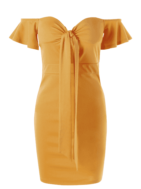 Robe Ajustée Corset Épaules Dénudées - Jaune 2XL Mobile