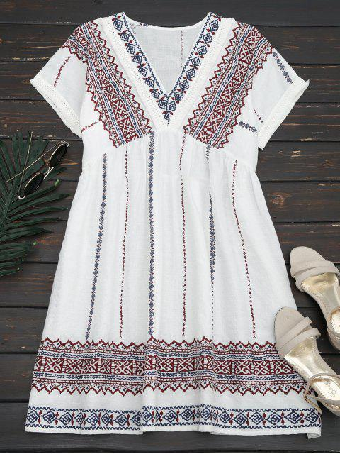 shop Tassels Embroidered Shift Dress - WHITE L Mobile