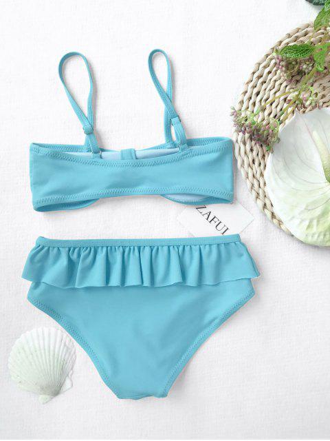 shop Bow Frilled Kids Bikini Set - BLUE 4T Mobile