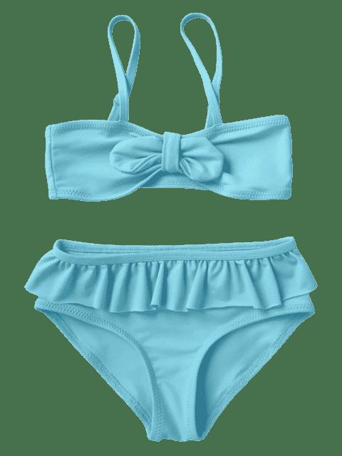 latest Bow Frilled Kids Bikini Set - BLUE 6T Mobile