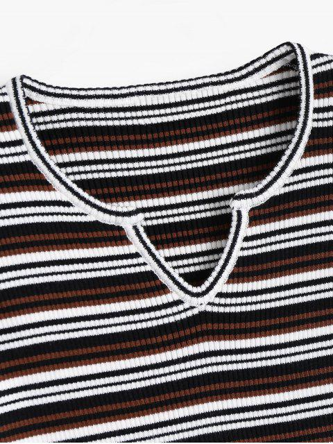 lady Sweetheart Neck Striped Knitted Top - BLACK AND WHITE AND RED ONE SIZE Mobile