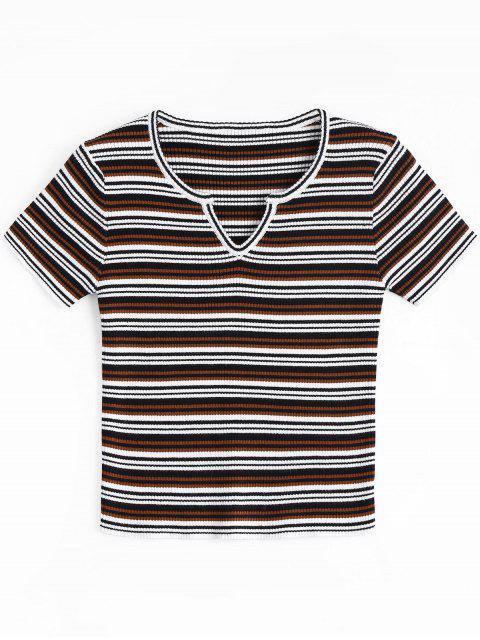 T-shirt Tressé Rayé Col Tunisien - Noir et Blanc et Rouge Taille Unique Mobile