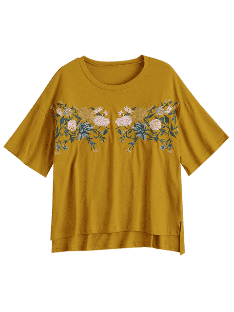 latest High Low Loose Embroidered T-shirt - GINGER ONE SIZE Mobile