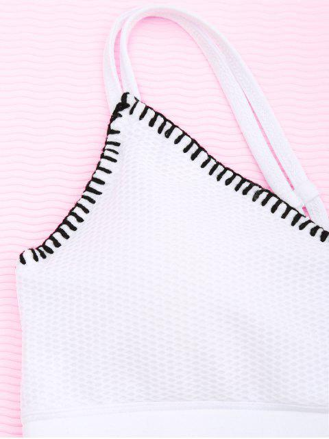outfit Contrast Trim Fishnet Strappy Sports Bra - WHITE M Mobile
