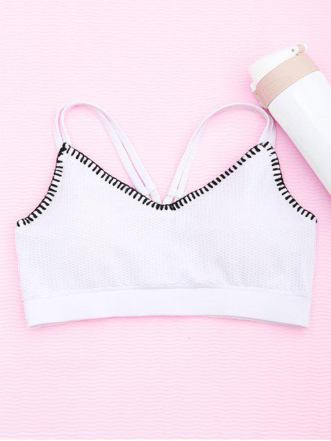 outfits Contrast Trim Fishnet Strappy Sports Bra - WHITE S Mobile