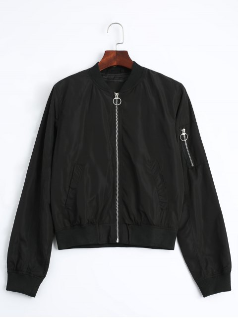 shop Zip Up Fall Bomber Jacket - BLACK M Mobile