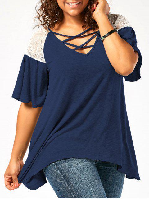 fashion Plus Size Criss Cross Drop Shoulder Tunic T-Shirt - CERULEAN XL Mobile