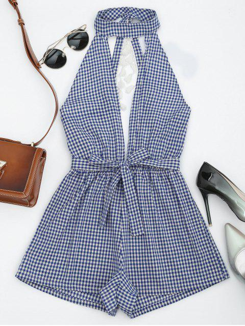 new Cut Out Backless Tassels Checked Romper - BLUE L Mobile