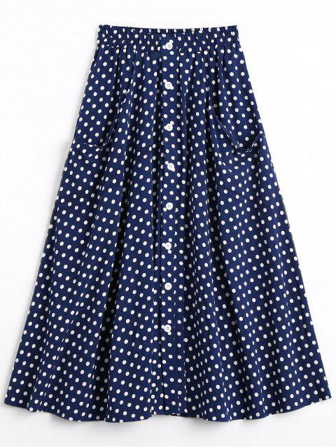 women's Button Up Polka Dot Skirt with Pockets - DOT PATTERN M Mobile