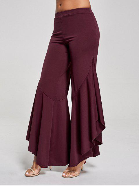 fancy Flounce High Waist Palazzo Pants - WINE RED S Mobile