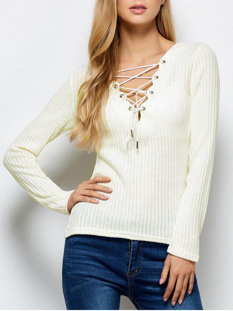 Schnürung-gerippter gestrickter Pullover - Weiß L Mobile