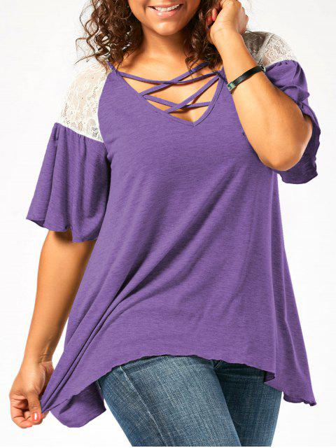 chic Plus Size Criss Cross Drop Shoulder Tunic T-Shirt - PURPLE 2XL Mobile
