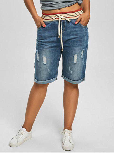best Ripped Plus Size Denim Shorts - DENIM BLUE 4XL Mobile