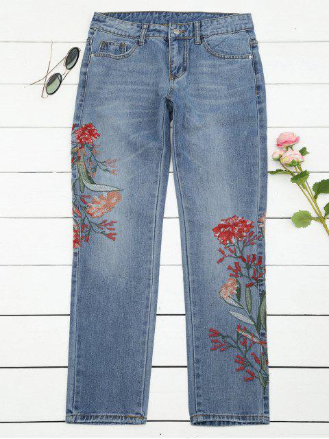 hot Bleach Wash Floral Embroidered Tapered Jeans - DENIM BLUE M Mobile