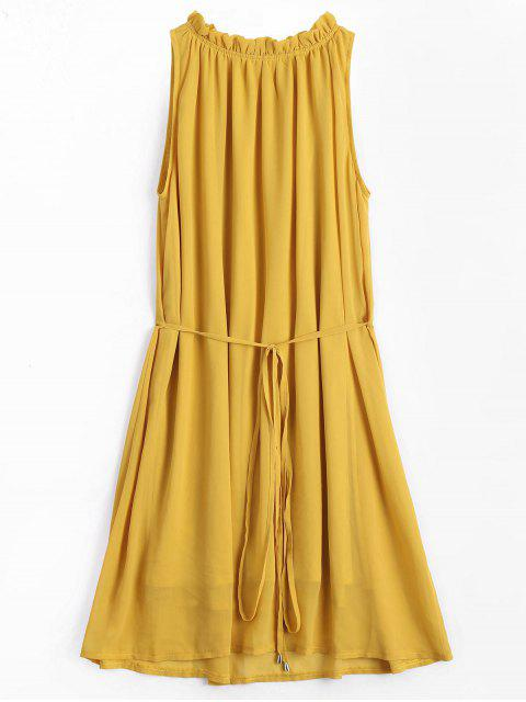 fancy Ruffled Neck Sleeveless Chiffon Dress - GINGER S Mobile
