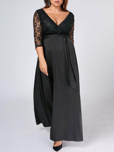 Belted Lace Panel Maxi Plus Size Dress - Preto 5xl