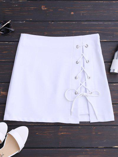 High Waisted Lace Up Bodycon Skirt - White