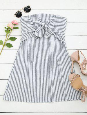 Stripes Bowknot Tube Mini Dress - Rayure M