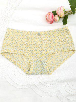 Panties Florales Minúsculos Del Hipster - Amarillo