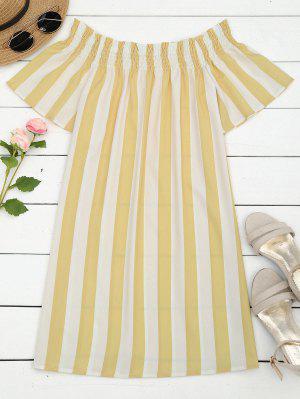 Stripes Off Shoulder Shift Dress - Stripe L