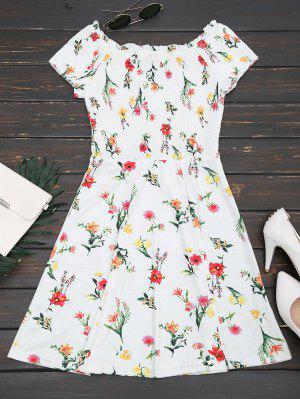 Smocked Ruffles Off Shoulder A Line Dress - Floral S