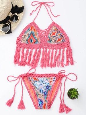 Tassel Argyle Crochet Bralette String Bikini - Rose PÂle S