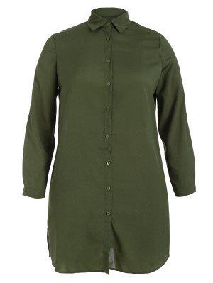 Floral Bordado Más Vestido De La Camisa De Talla - Verde Del Ejército 4xl