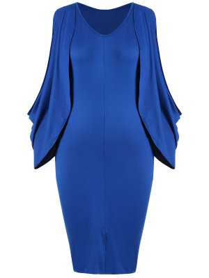 Vestido Bodycon De Furcal De La Parte Delantera De La Manga Del Tamaño Más - Azul 2xl