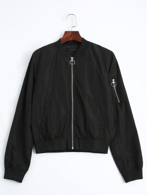 Zip Up Fall Bomber Jacket - Black S