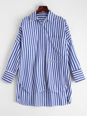 Stripes High Low Shirt With Pocket - Stripe M