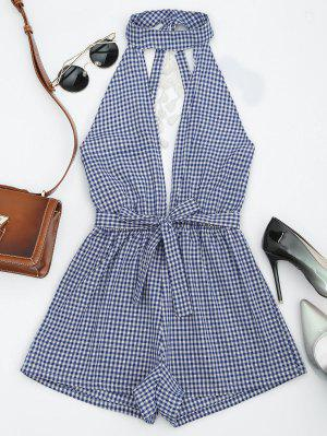 Cut Out Backless Tassels Checked Romper - Blue M