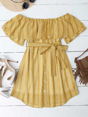 Schulterfreies Kleid mit Nadelstreifen