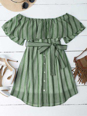 Multi Stripe Off The Shoulder Dress - Green S