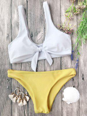 Juego De Bikini Nudoso Acolchado Bralette - Blanco+amarillo M