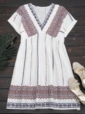 Tassels Embroidered Shift Dress - White S