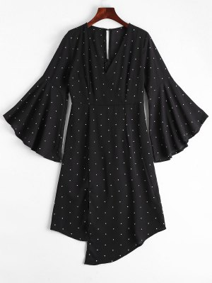 Polka Dot Surplice Asymmetrical Dress - Negro M