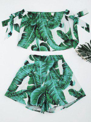 Leaves Print Crop Top And Shorts Set - Green M