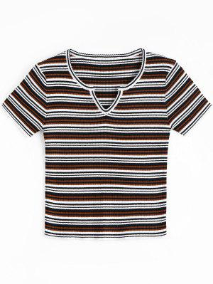 Sweetheart Neck Striped Knitted Top - Black And White And Red