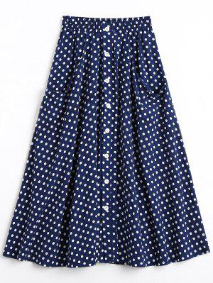 Button Up Polka Dot Skirt with Pockets