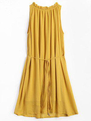 Ruffled Neck Sleeveless Chiffon Dress