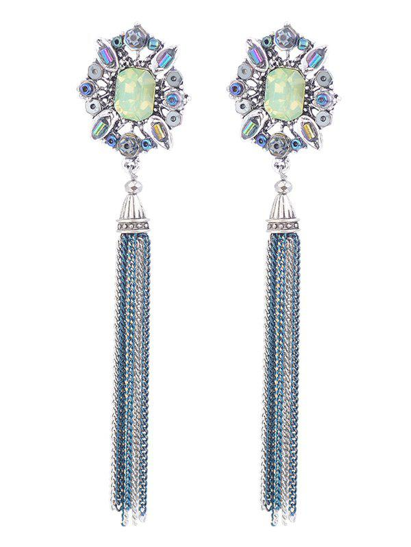 Image of Oval Faux Gem Inlay Metal Fringed Earrings