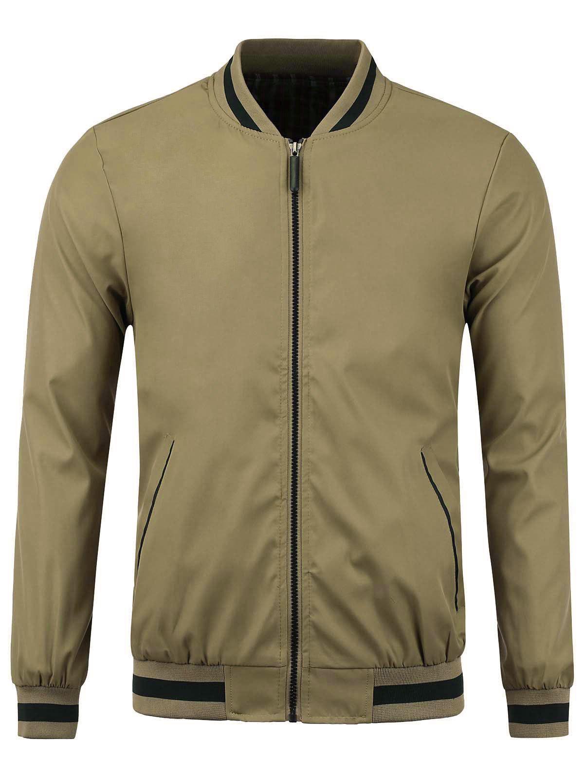 Stripe Rib Panel Stand Collar Zip Up Jacket 220081317