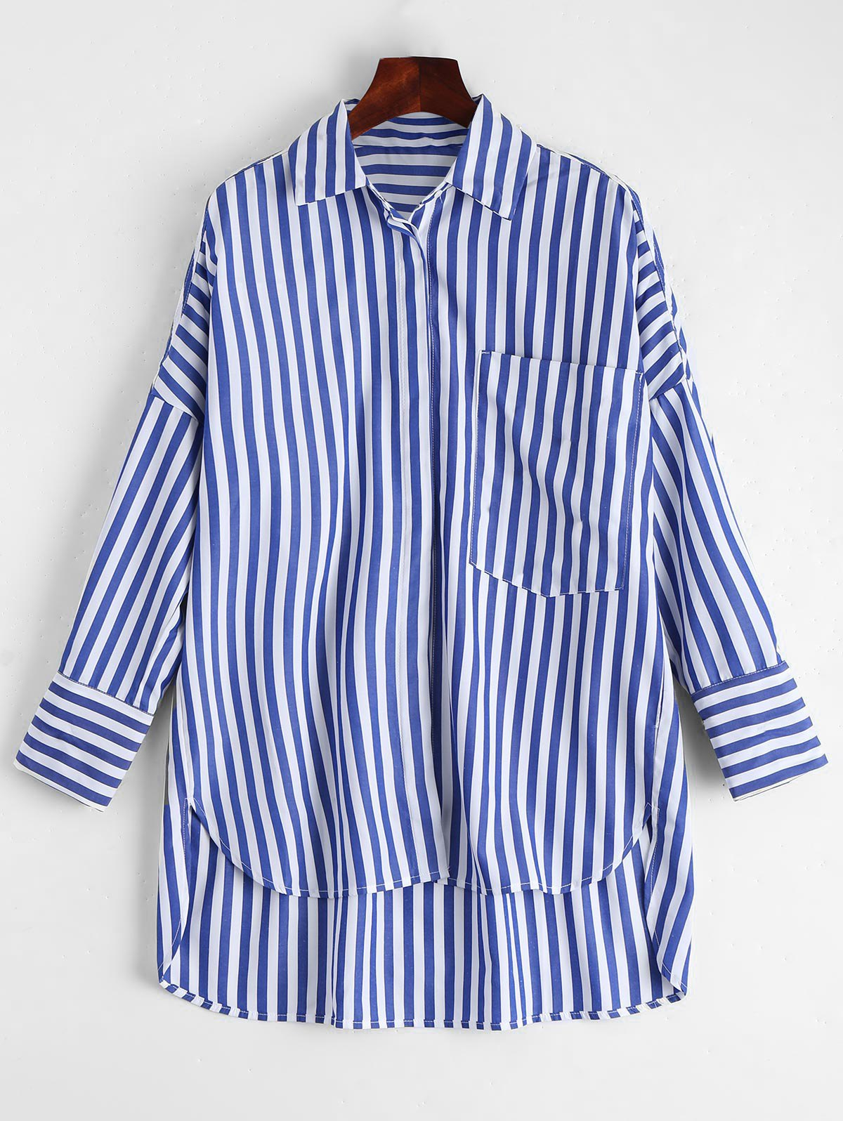 Stripes High Low Shirt with Pocket 220155901