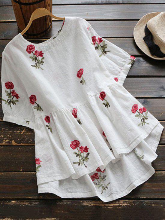Hohe Niedrige Bluse mit Blumenstickerei