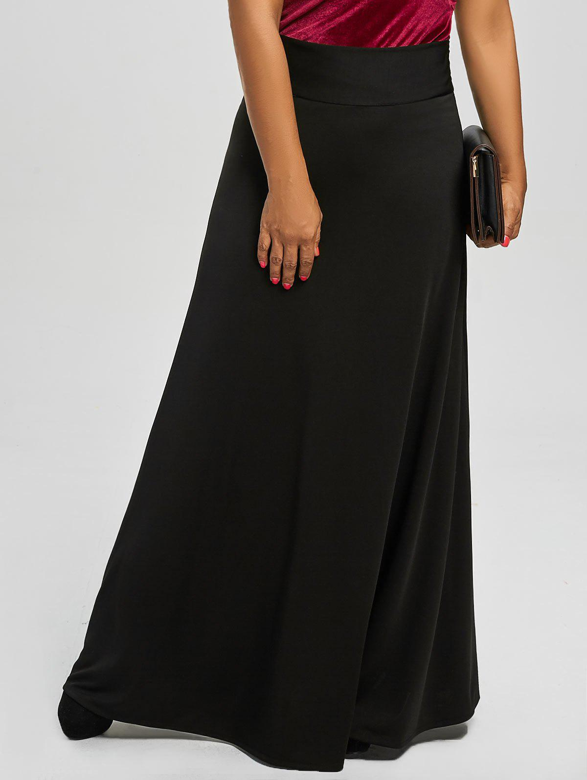 Plus Size High Waist Maxi Flare Skirts 219509105