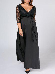 Belted Lace Panel Maxi Plus Size Dress - Black 4xl