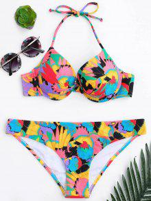 Twisted Underwire Push Up Bikini Set - Multicolor S