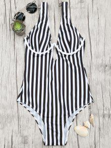 Underwire Striped One Piece Swimsuit - White And Black L