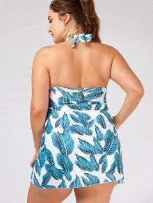 leaf print halter plus size skirted badeanzug hellblau bademode 3xl zaful. Black Bedroom Furniture Sets. Home Design Ideas