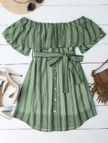 Multi Stripe Off The Shoulder Dress - Green L